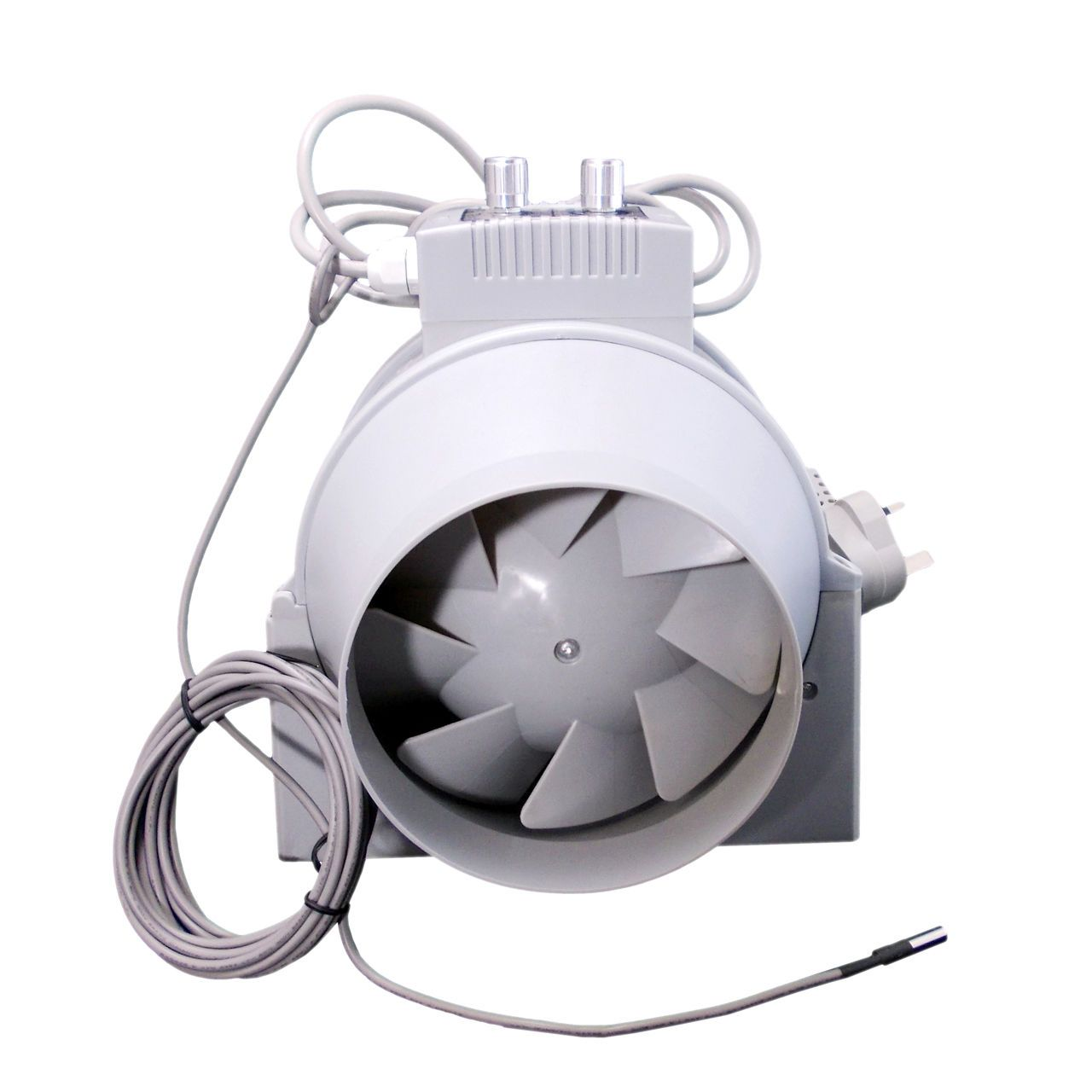 High Heat Inline Fan : Inline duct fan with temperature control all sizes